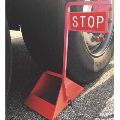 Metal wheel chocks with stop sign